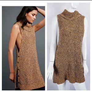NWOT Free People Chunky Knit Sleeveless Turtleneck
